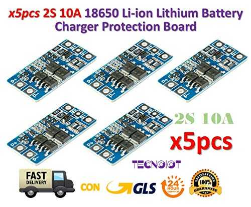 TECNOIOT 5pcs 2S 10A 8.4V 7.4V Li-ION Lithium 18650 BMS PCM Battery Protection Board