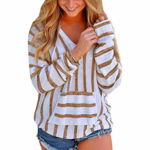 MORCHAN Womens Stripe lâche Manches Longues Pull Pull Dames Occasionnels Tricots Tops(FR-38/CN-S,Kaki)