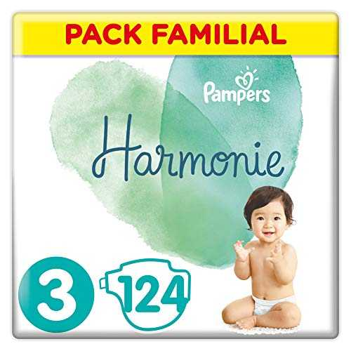 Pampers - Harmonie - Couches Taille 3 (6-10 kg) Hypoallergénique - Pack Familial (124 couches)