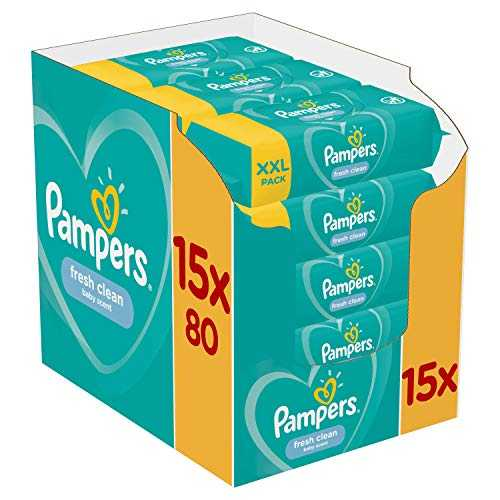 Pampers - Fresh Clean - Lingettes Bébé - Lot de 15 Paquets de 80 (1200 Lingettes)