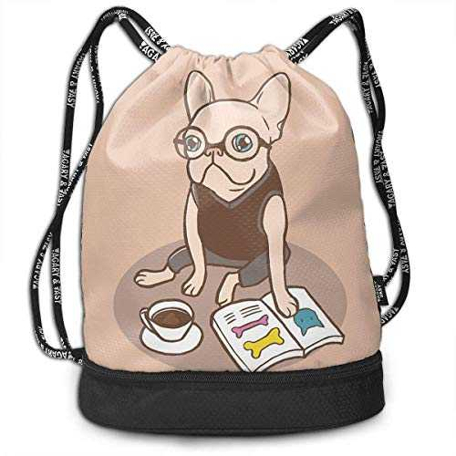 The Hipster Reader French Bulldog Drawstring Bag for Men & Women - Cinch Backpack Sackpack Tote Sack with Wet & Dry Compartments for Travel Hiking Gym
