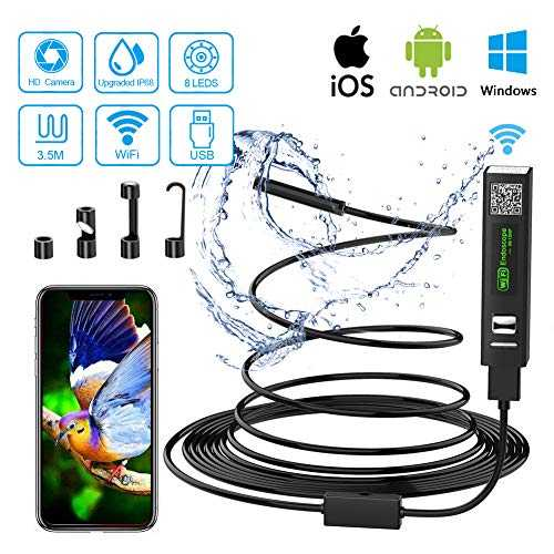 Endoscope Wifi Camera Endoscopique USB, 2 Mégapixels 1200P HD Camera Inspection IP68 Etanche Caméra Endoscopique avec 8 LED pour Iphone, Android, iPad, Mac, PC, Laptop