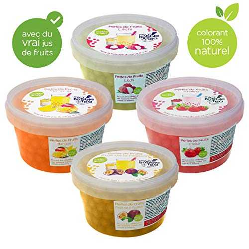 Popping Bobba Originale pour Bubble Tea - 4X450g - Fraise, Litchi, Fruit de la Passion, Mangue