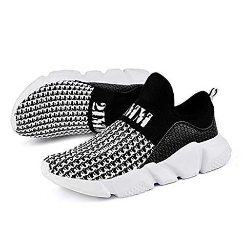 Huaishu Slip sur Les Chaussures de Course pour Hommes Mesh Respirant Cushion Creux Rejection de la Chaleur Sneakers Chaussures de Sport sur la Taille 39-45 (Color : Black, Size : US7/EU39/UK6/CN39)