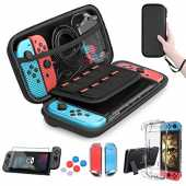 HEYSTOP Etui pour Nintendo Switch, Protection Switch Housse   Nintendo Switch Coque Transparente   Protection écran Switch   6 Thumb Grip