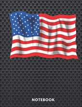Notebook: USA Flag Union Jack in Carbon Fiber /Plain Notebook - Large (8.5 x 11 110 Pages) , Cute Gifts for Girls Boys & Women Men
