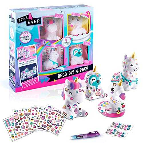 Canal Toys OFG 177 Style For Ever - Mini licorne, lama, paressexu, flaman rose à customiser - Deco DIY x 4 personnages