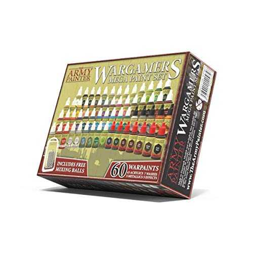 The Army Painter 🖌 | Wargamers Mega Paint Set 60 | Starter Collection of 60 Acrylic Paints and 100 Mixing Balls for Wargames, Roleplaying and Tabletop Miniature Model Painting