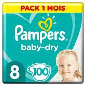 Pampers Baby Dry Taille 8 (x100 couches) pack 1 mois