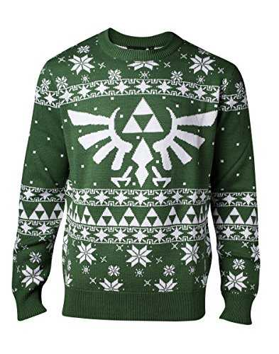 Nintendo Knitted Royal Crest Christmas Sweater Pull, Green (Green), Large Homme