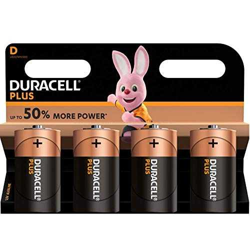 Duracell Plus, lot de 4 piles alcalines type D 1,5 Volts, LR20 MN1300 (visuel non contractuel)