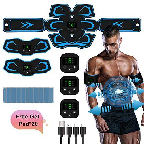 TouchSKY Electrostimulateur Musculaire Homme Femme,3 in 1 USB Charger Ceinture Abdominale Electrostimulation EMS Trainer, ABS Stimulateur Musculaire pour Abdomen Bras Jambes Formation Corps
