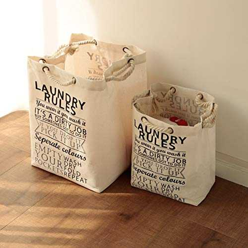 XYDESIGN ZAKKA Solid-Colored Cotton Sack with COARSE Cotton Rope Practical Shopping Bag Environmental Protection Collection Bag 37X30 CM Les Rules DE Laundry (Petit)