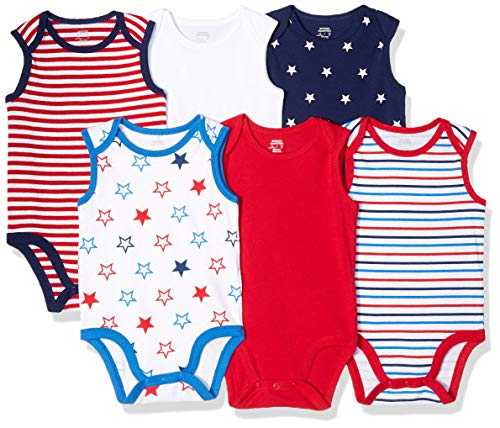 Amazon Essentials Lot de 6 bodys sans manches pour bébé, Uni Americana, US NB (EU 56-62)