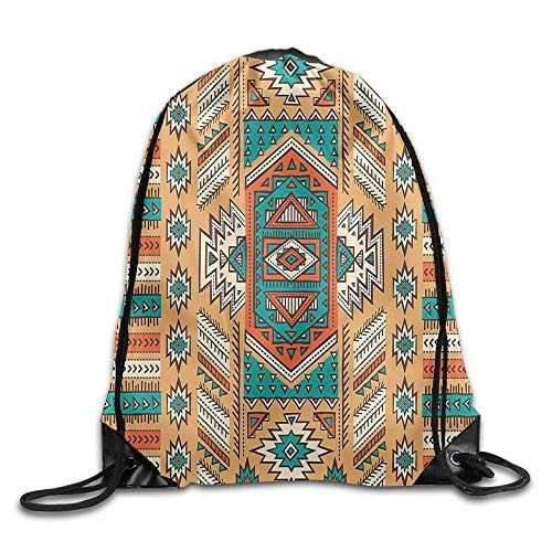 Etryrt Prime Sacs à Cordon,Sac à Dos, Indian Aztec Secret Tribe Pattern Native American Bohemian Style Drawstring Gym Sack Sport Bag for Men and Women