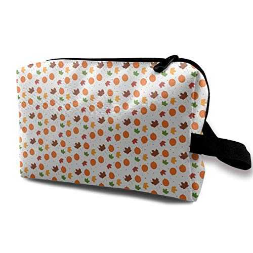 Travel Cosmetic Bag Autumn Harvest Elements Art Lady Make-up Organizer Clutch Bag with Zipper Toiletry Storage Pouch