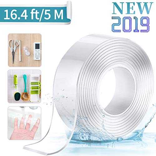 Jeteven Nano Tape, Ruban adhésif Double Face Multifonctionnel Nano Antidérapant Transparent Traceless Double-Face Gel Clear Tape Lavable Réutilisable Ruban Adhésif pour Maison 2MM*3CM*5M