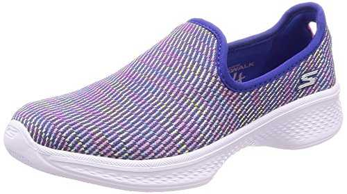 Skechers Go Walk 4-Select, Baskets Enfiler Fille, Bleu (Blue/Multicoloured), 31 EU