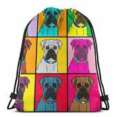 "ghjkuyt412 Boxer Dog Colorful War 3D Print Drawstring Backpack Rucksack Shoulder Bags Sports Gym Bag for Adult 16.9""X14""inches"