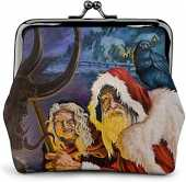 De Li Sheng Porte-Monnaie Yule Black Crow Santa Krampus Christmas Vintage Pouch Girl Lock Change Purse Wallets Buckle Leather Coin Purses