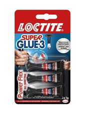 Loctite Super Glue-3 Power Flex Gel Mini Trio, colle forte enrichie en caoutchouc, mini-dose de colle gel ultra-résistante, séchage immédiat, colle transparente, lot de 3 tubes 1 g