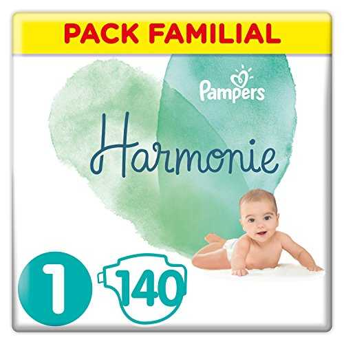 Pampers - Harmonie - Couches Taille 1 (2-5 kg) Hypoallergénique - Pack Familial (140 couches)
