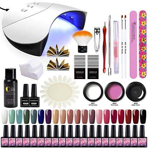 Saint-Acior 36W UV/LED Lampe Kit Poly Extension Construction Gel à Ongles Quick Building 20pc Vernis Semi Permanent Cleanser Plus Base Coat Top Coat Faux Ongle Manucure Nail Art