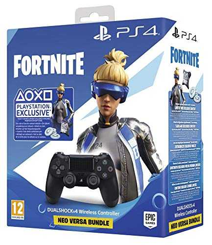 Sony Manette PlayStation 4 Officielle, DUALSHOCK 4, Skin Neo Versa   500 V-Bucks Fortnite, Sans Fil, Batterie Rechargeable, Bluetooth, Noire