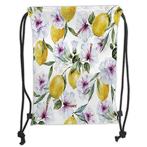 Icndpshorts Drawstring Backpacks Bags,Spring,Flowers Lemons Essence Refreshing Agriculture Harvest Aroma Organic Watercolor Art,Multicolor Soft Satin,5 Liter Capacity,Adjustable String Closure