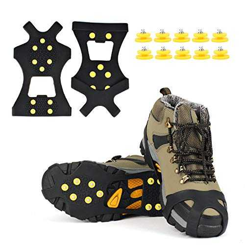 EONPOW Glace Traction Crampons Antidérapant sur Chaussures/Bottes 10 Clous à Neige Grips Crampons Crampons Pointes