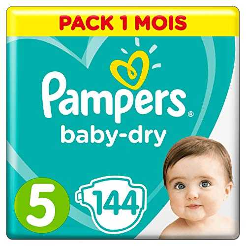 Pampers - Baby Dry - Couches Taille 5 (11-16 kg) - Pack 1 mois (x144 couches)