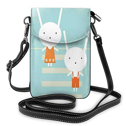 Jiger Women Small Cell Phone Purse Crossbody,Traffic Rules Theme Boy And Girl Rabbits Crossing The Road Educational Kids Cartoon
