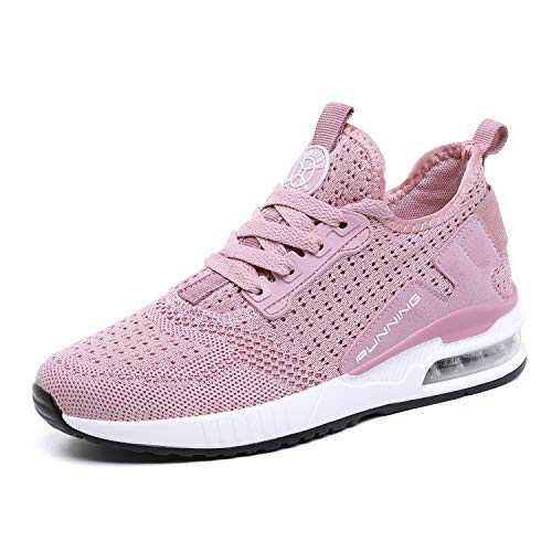 TQGOLD® Basket Femme Homme Chaussure de Sport Course Running Fitness Tennis Mode Sneakers(Rose,Taille 39)