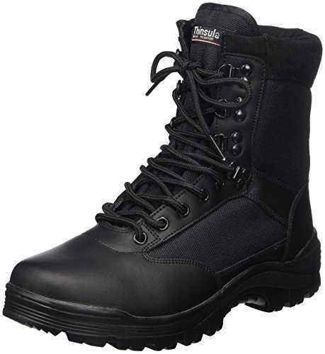 SWAT Mens Black Tactical Patrol Combat Police Security Army Leather Boots - Noir - 42 EU