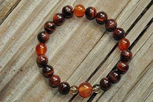 LOVEKUSH Beautiful AAA++ Quality Mens Carnelian Bracelet, Tiger Eye Bracelet, Smoky Quartz, Mens Mala Bracelet, Mens Yoga Bracelet, Mens Crystal Healing, Mens Meditation 6mm
