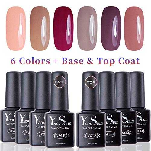 Vernis Gel Semi Permanent - Y&S UV LED Vernis à Ongles Gel Soak Off 8pcs x 8ml Débutant Kit, 6 Couleurs   Top et Base Coat, Lot Nude Populaire