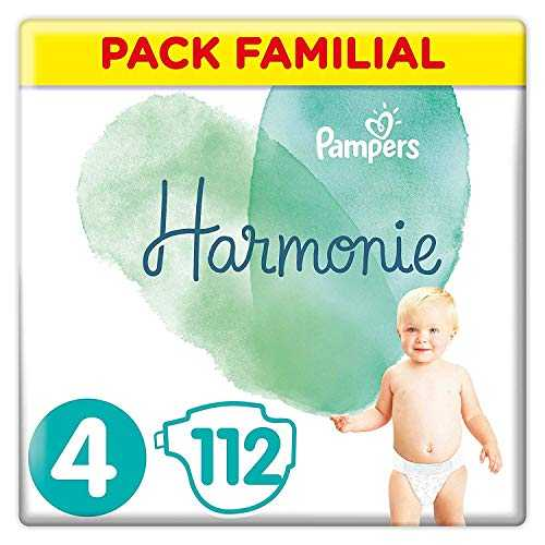 Pampers - Harmonie - Couches Taille 4 (9-14 kg) Hypoallergénique - Pack Familial ( lot de 4 x 28 = 112 couches)