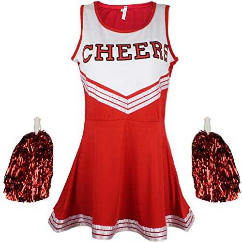 Cheerleader Fancy Dress Outfit Uniform High School Musical Costume with Pom Poms Red Cheerleader, Medium