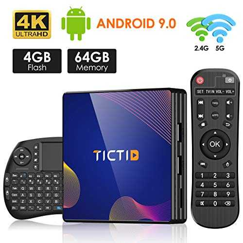 TICTID TV Box Android 9.0 avec Clavier Touchpad【4GB DDR3   64GB ROM】 BT 4.0 Android TV Box R8 Plus RK3318 Quad-Core 64bit Cortex-A53 Wi-FI 2.4G/5G LAN100M USB 3.0 Box Android TV