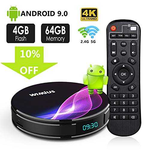 TV Box Android 9.0, Android Box TV 4K Ultra HD [4G RAM+64G ROM] WiMiUS K1 Pro Boîtier TV Dual WiFi 2.4G/5G/ LAN 100Mbps/ Amlogic S905X2/ H.265 64Bit/ USB 3.0/ Bluetooth 4.0 [2019 Dernière Version]