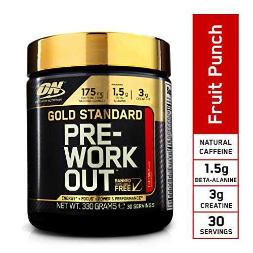 Optimum Nutrition Gold Standard Pre Workout - Cocktail de Fruits, 30 Portions - Preworkout booster, 330 g