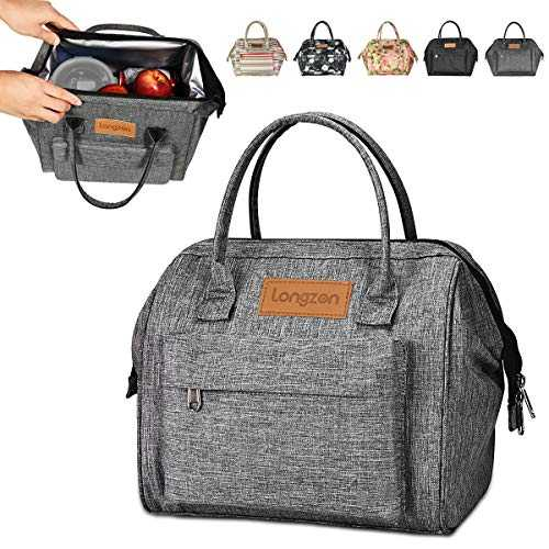 Sac Isotherme Repas, longzon15L Grande capacité Isothermal Lunch Box Isotherme Bag Boite Repas,Sac Isotherme Bureau, Insulated Cooler Bag Sac à Lunch Office Meal pour Homme,Femme,Enfant,Bebe-Gris