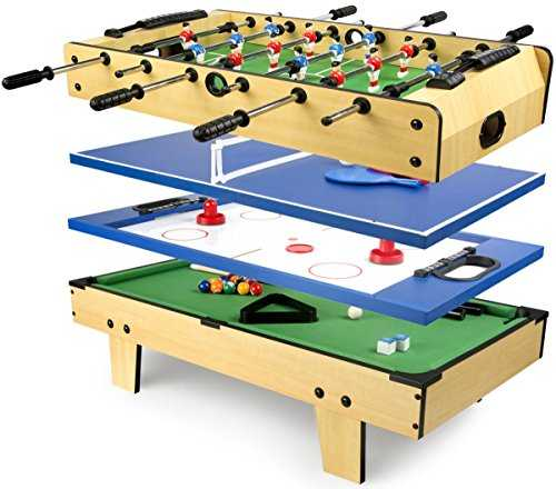Leomark Table de Babyfoot 4 in 1 Multifonctionnel Jeu de Football,Bilard, Tenis, Hockey Baby-Foot, Baby Foot Table En Bois Jeu de Football Petite Taille Universel