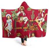 Lucky Home Sexy American Rustic West Cultural Cowgirl Hooded Blanket Soft Flannel Sherpa Mens Women Wearable Novelty Plush Fleece Throw Blankets Poncho 80 'x60'