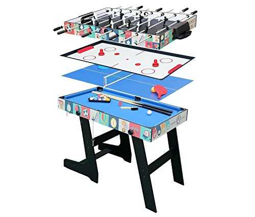 hj Table Multi Jeux 4 en 1 Pliante-Billard/Babyfoot/Hockey/Tennis de Table-121.5*61*81.5cm