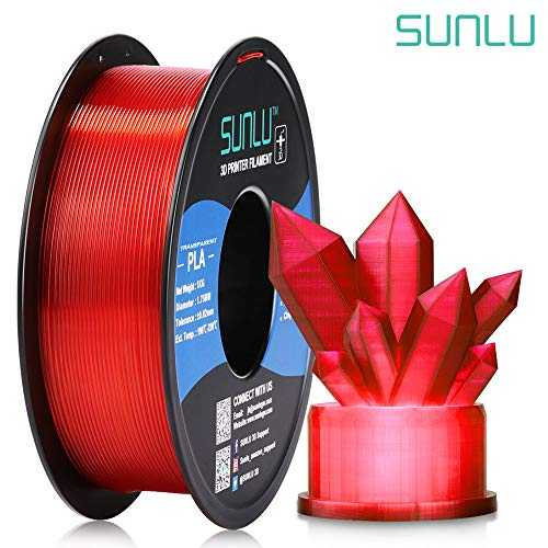 SUNLU Transparent PLA Filament 1.75 mm 3D Printer Filament, 1kg Spool 3D Printing Filament, Dimensional Accuracy  /- 0.02 mm for 3D Printer and 3D Pen (Transparent Red)