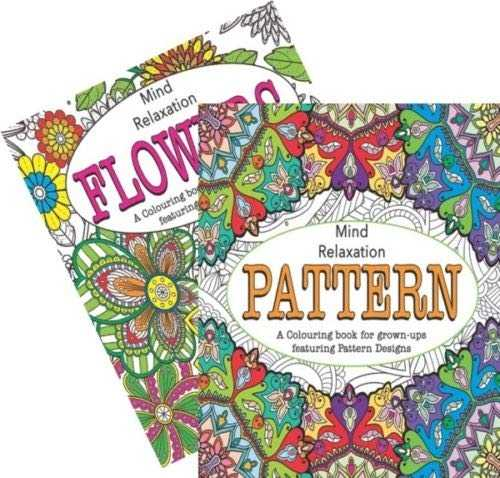 Martello Pattern/Flowers Adult Colouring Books, Relaxation Anti Stress Ideal Xmas Gift Pack of 2