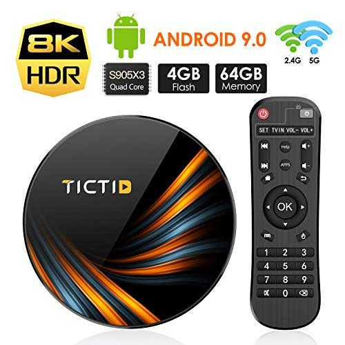 TICTID Android TV Box Android 9.0【4G+64G】 S905X3 Boitier Android TV Bluetooth 4.0, TX6 Plus Amlogic S905X3 Quad-Core 64bit Cortex-A55, Box Android TV LAN1000M Wi-FI 2.4G/5G TV Box 8K