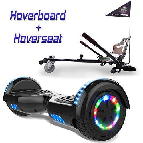 COLORWAY Overboard Hover Scooter Board Gyropode Bluetooth SUV 6.5 Pouces, Scooter Electrique Moteur 700W Tout-Terrain, Self-Balance Board avec Roues LED Flash   Hoverkart