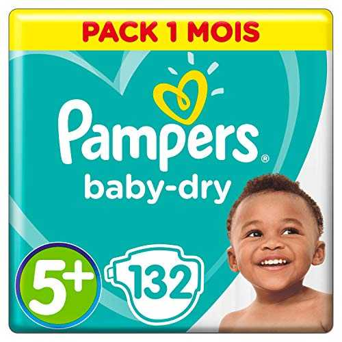 Pampers - Baby Dry - Couches Taille 5  (12-17 kg) - Pack 1 mois (x132 couches)